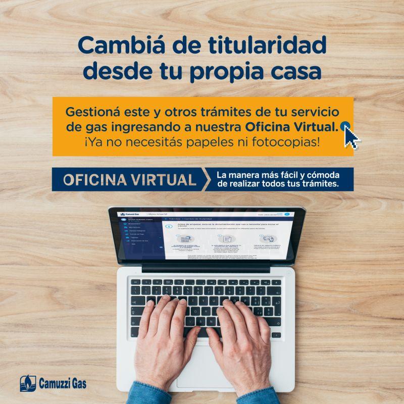 """Camuzzi Gas incorpora el   """"Cambio de titularidad online"""" en su Oficina Virtual"""