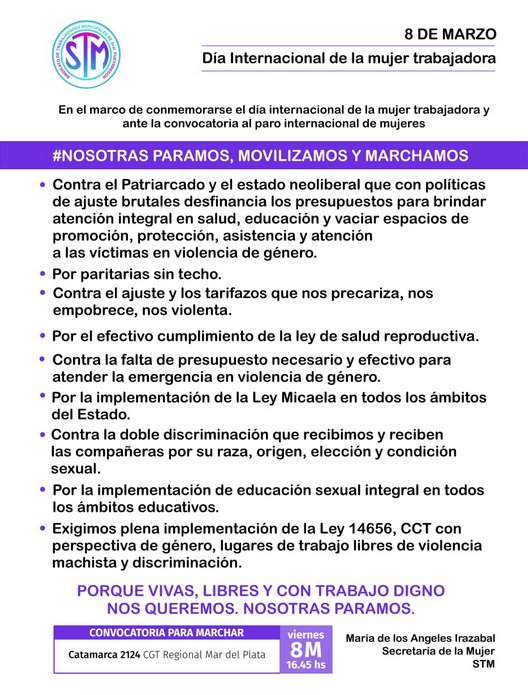 8M: las mujeres municipales adhieren al paro