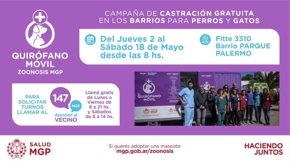 El Quirófano móvil para mascotas estará en Parque Palermo