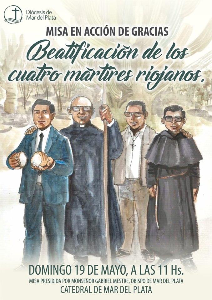 Darán gracias en Mar del Plata por la beatificación de los mártires riojanos