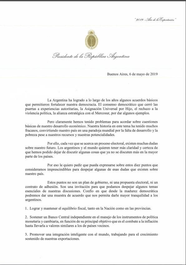 Se conoció la carta que Macri le envió a los dirigentes opositores