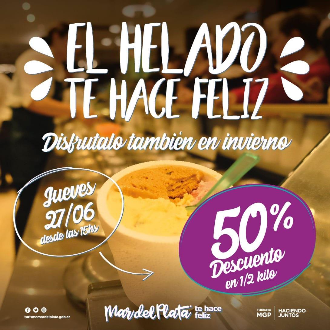 La promo del 50 por ciento de Helado...¡también en invierno!