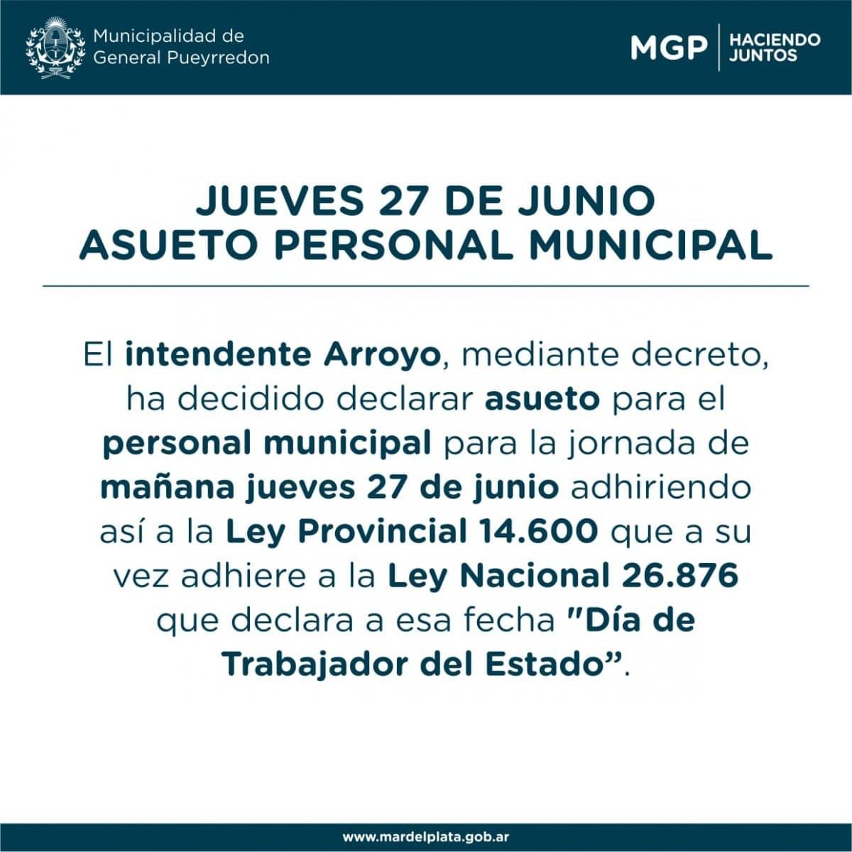 Arroyo decretó asueto para el personal municipal