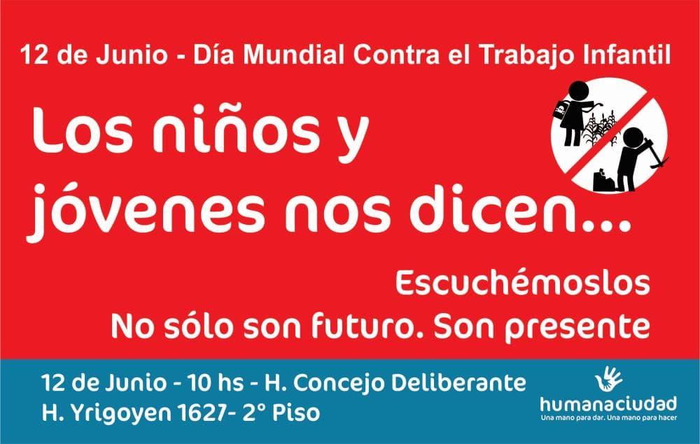 Se hará una Jornada contra el Trabajo Infantil en el Concejo Deliberante