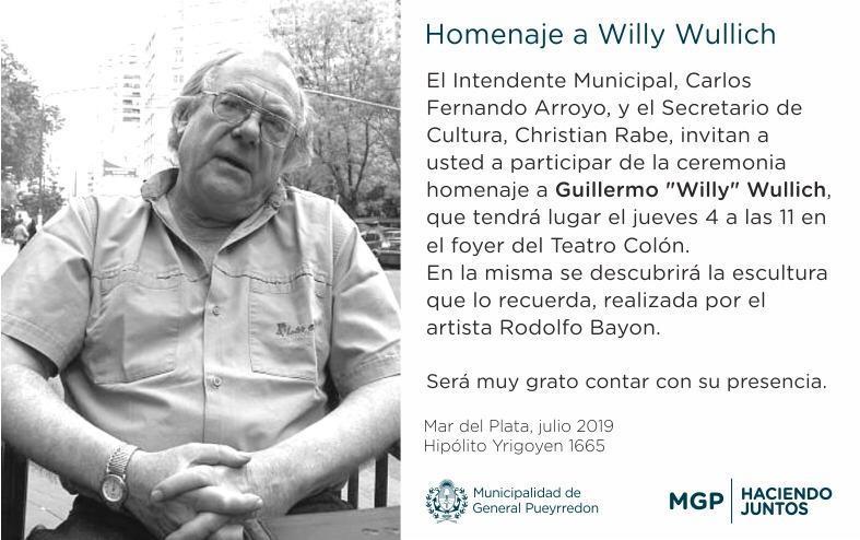 Se descubrirá una escultura en homenaje a Willy Wullich