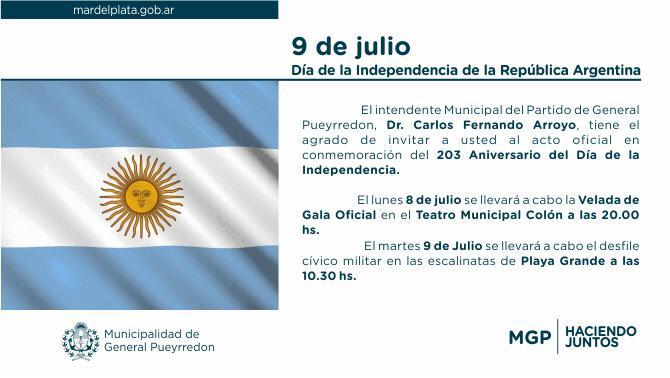 Día de la Independencia: habrá desfile en Playa Grande