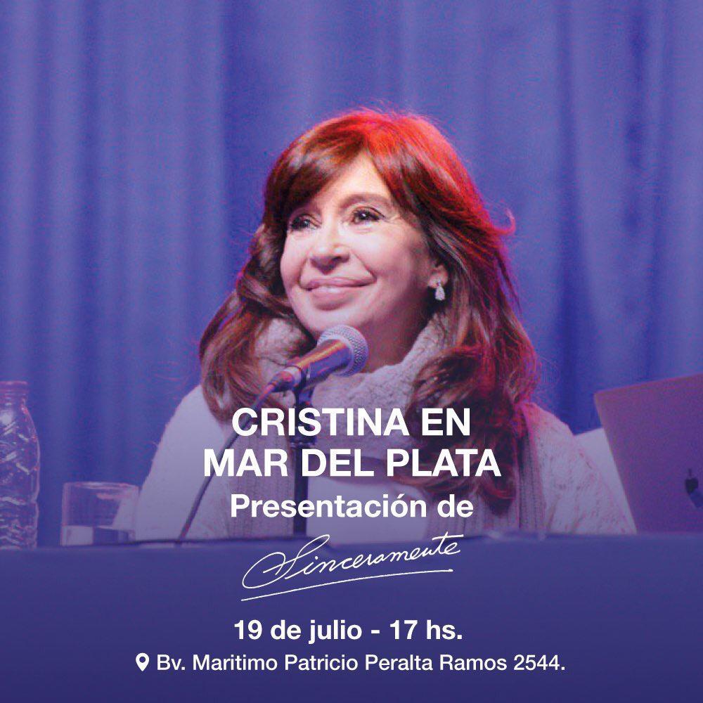 """Cristina Fernández presentará su libro """"Sinceramente"""" en Mar del Plata"""
