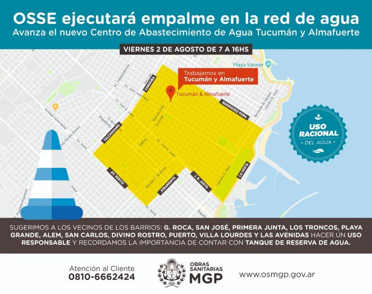 OSSE realizará empalme de cañerías en Tucumán y Alamfuerte