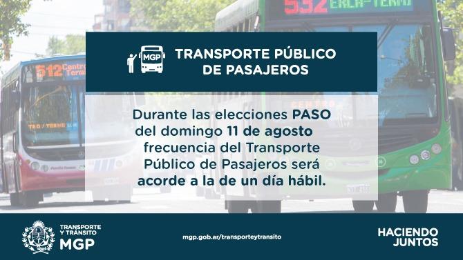 PASO: el transporte público no será gratuito y funcionará como día hábil