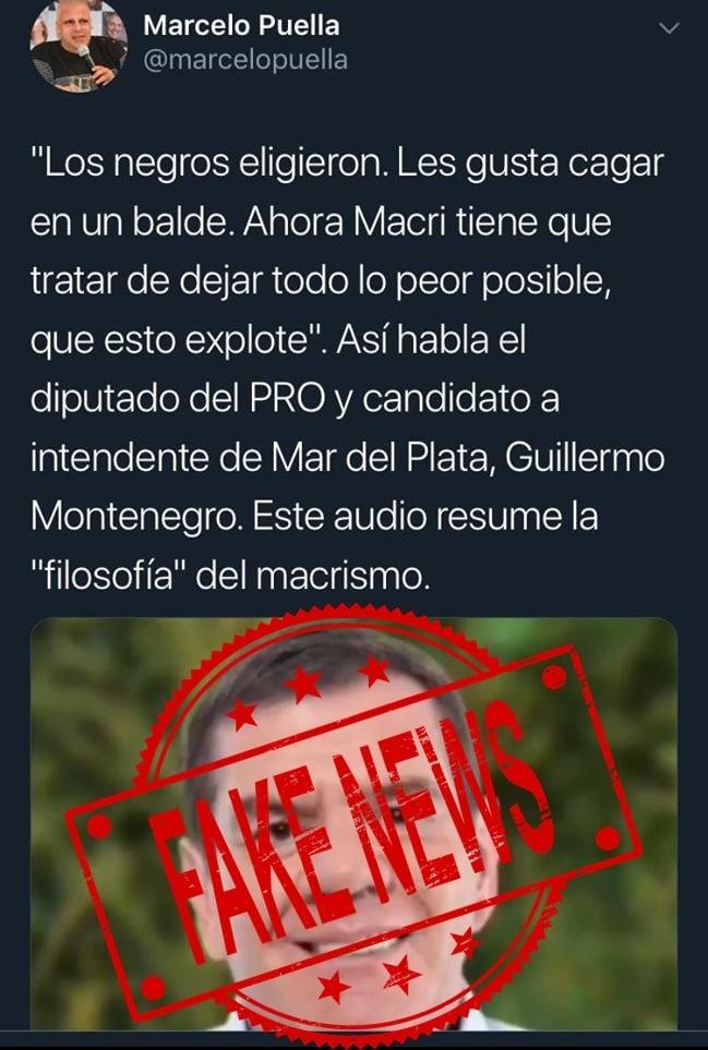 """Denuncian una """"fake news"""" contra Montenegro"""