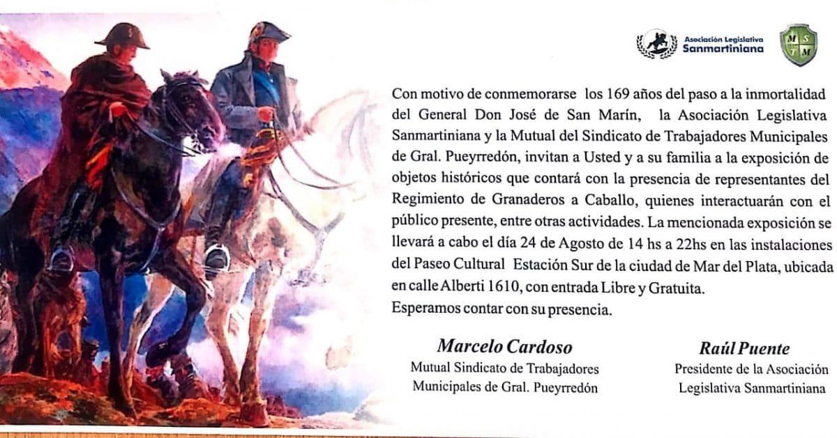 Exponen objetos históricos del General San Martín en el Paseo Cultural Estación Sur