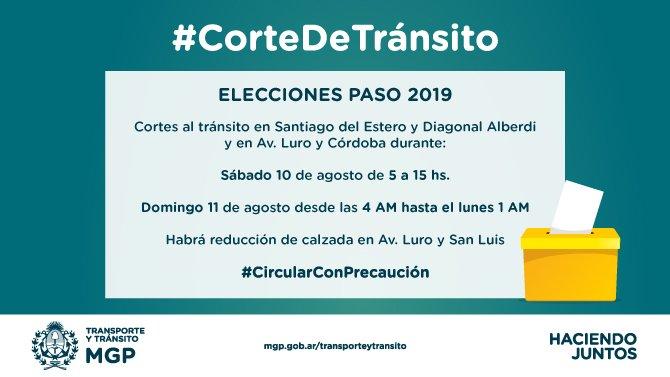 PASO: habrá cortes de tránsito en la zona del Correo Argentino