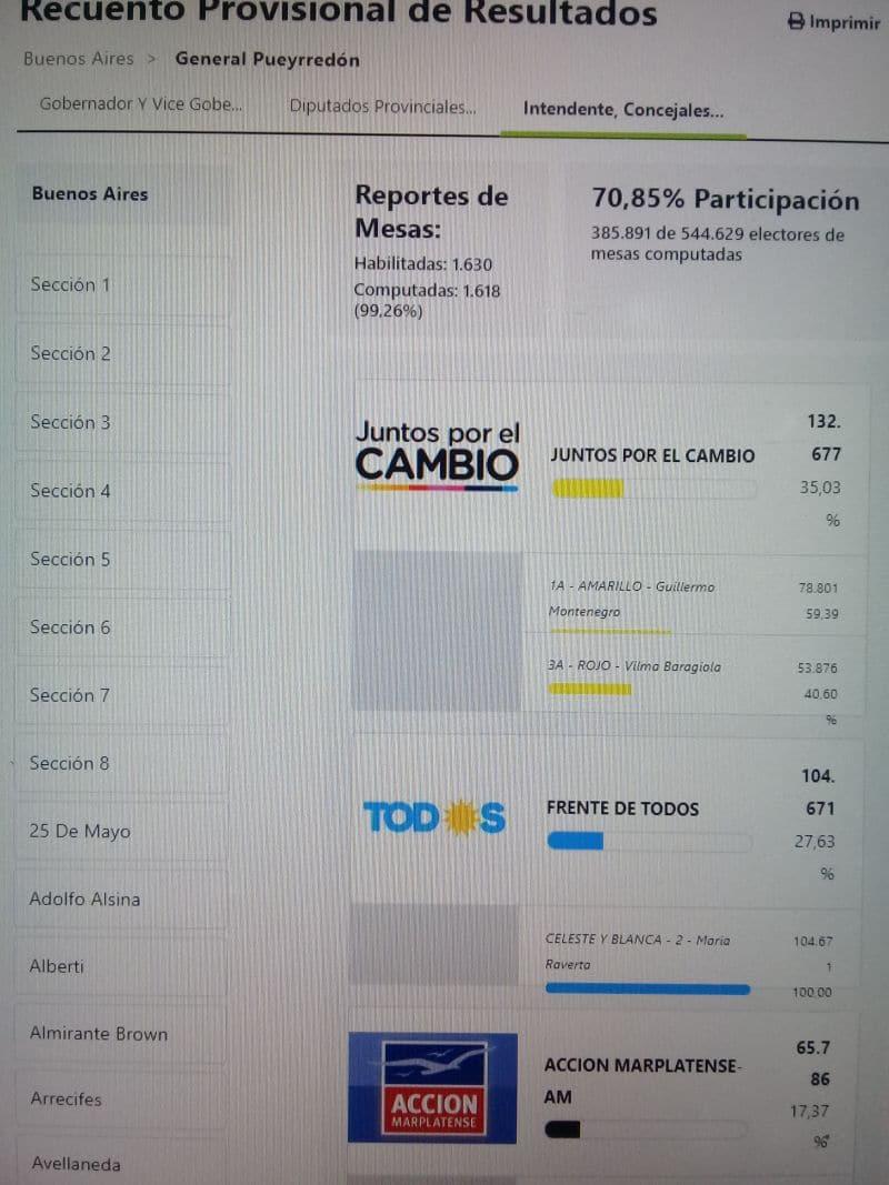 PASO2019: los números en General Pueyrredon