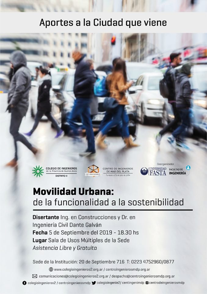 """Se realizará la Charla """"Movilidad Urbana: de la funcionalidad a la sostenibilidad"""""""