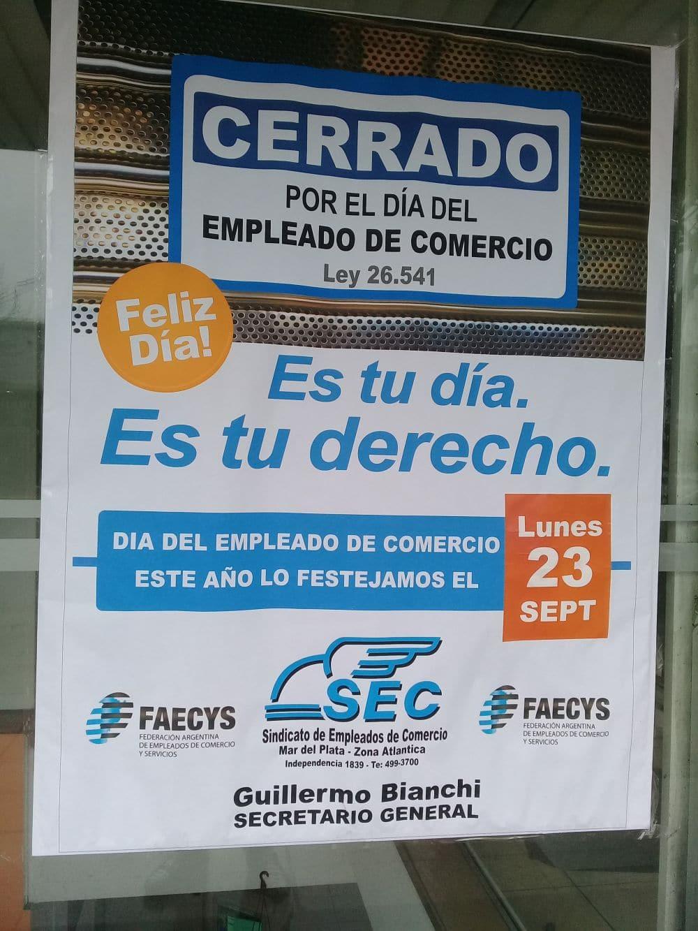 Los Empleados de Comercio festejarán su día en Mar del Plata el lunes 23 de septiembre