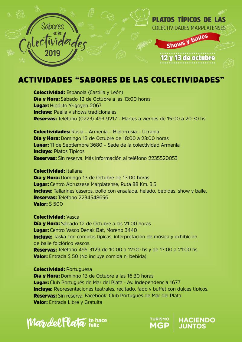"""Mar del Plata y un fin de semana con """"Sabores de las Colectividades"""""""