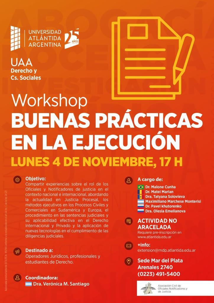 Workshop Internacional en Mar del Plata: Buenas Prácticas en la Ejecución