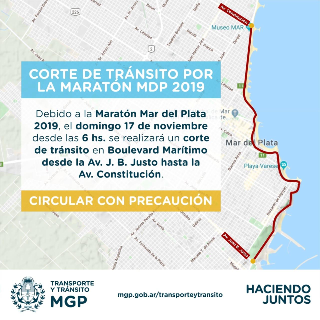Cortes de Tránsito por el Maratón de Mar del Plata