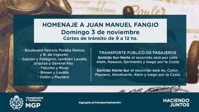 Anuncian cortes de tránsito por Homenaje a Juan Manuel Fangio