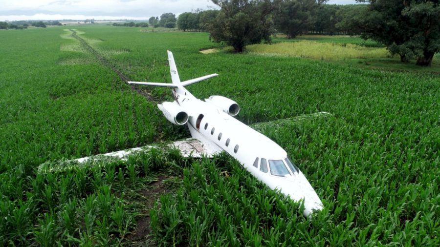 Aterrizaje de emergencia en un campo de Otamendi