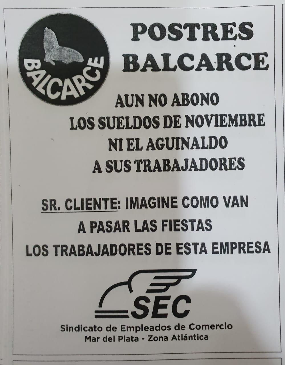 Postres Balcarce: empleados no cobraron sueldos ni medio aguinaldo