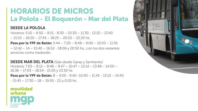 El lunes comienza a funcionar el transporte urbano de pasajeros en La Polola y el Boquerón