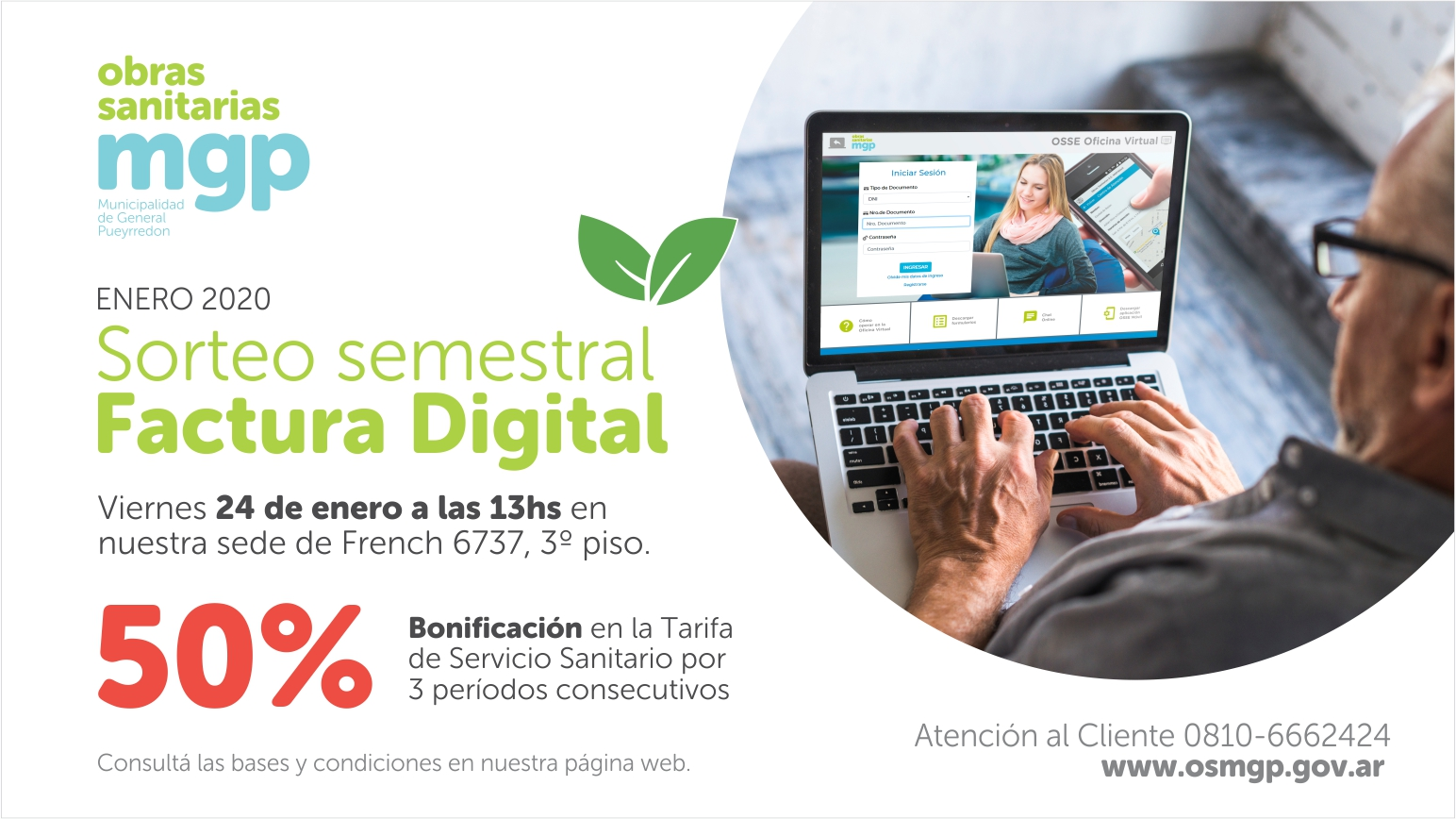 """Obras Sanitarias realizará un nuevo sorteo para adherentes a su """"factura digital"""""""