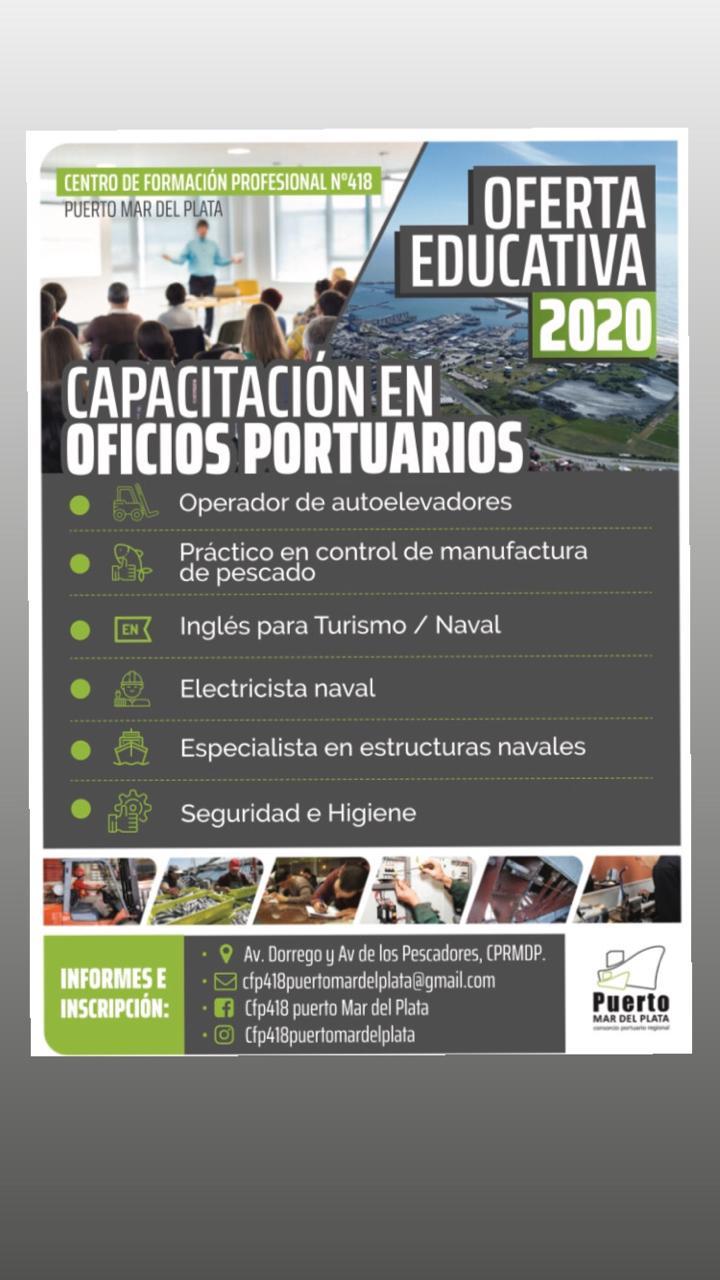 Inscriben para cursos de oficios portuarios en el nuevo Centro de Formación Profesional N°418