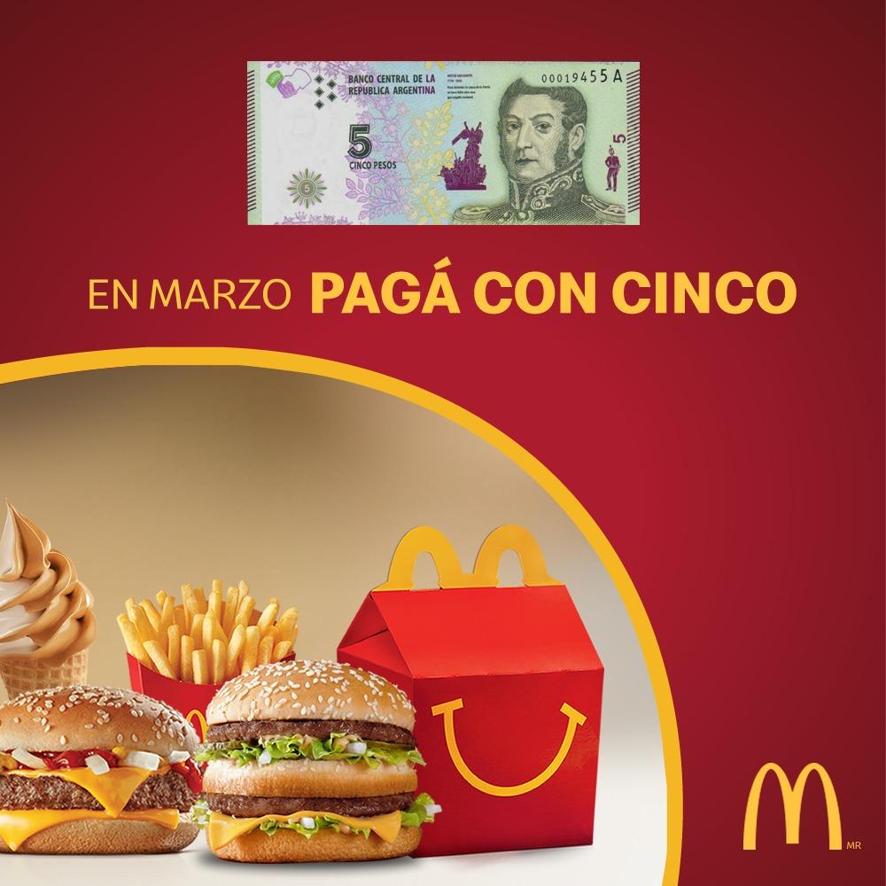 McDonald's aceptará los billetes de 5 pesos hasta el 24 de marzo