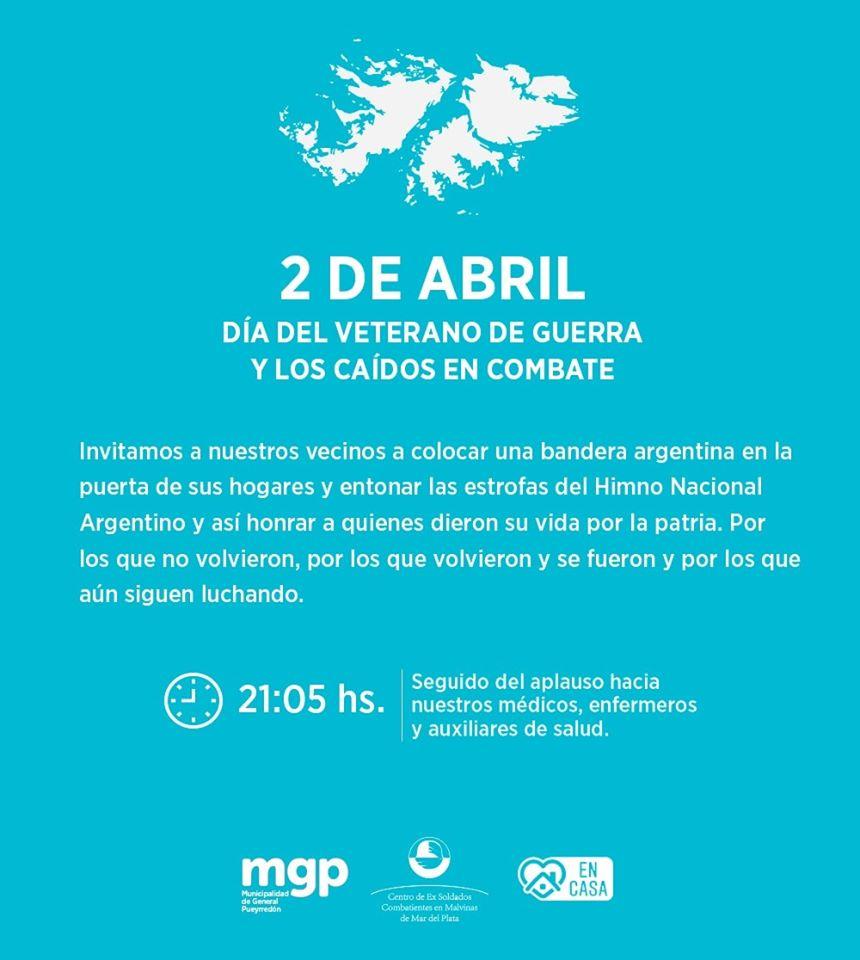 Malvinas: convocan a entonar el Himno a las 21.05