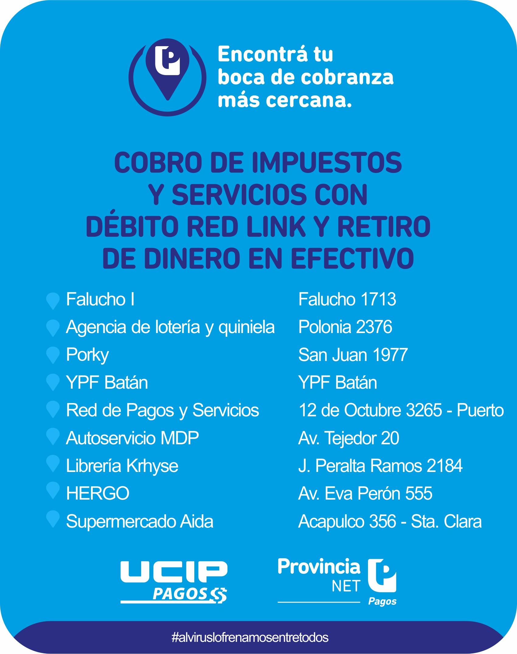 UCIP informa las bocas de cobranza habilitadas en varios puntos de la ciudad
