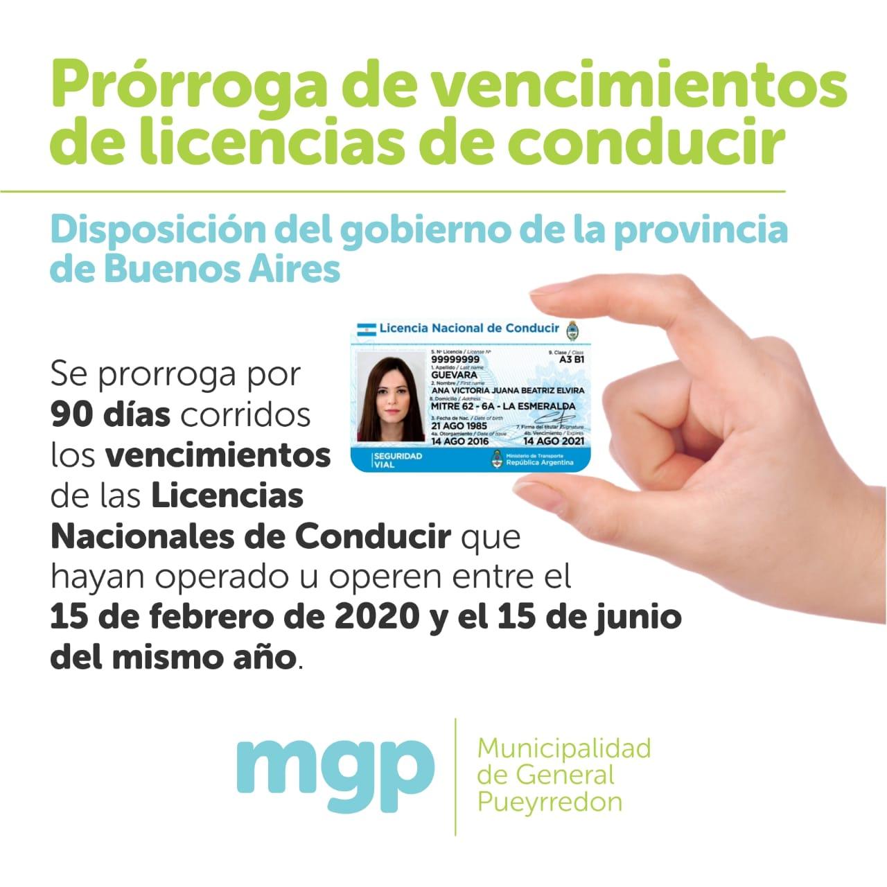 prorroga licencia de conducir