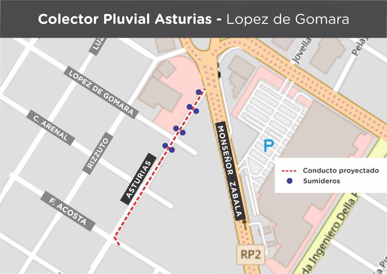 """Comenzó la construcción de un conducto pluvial en """"López de Gomara"""""""