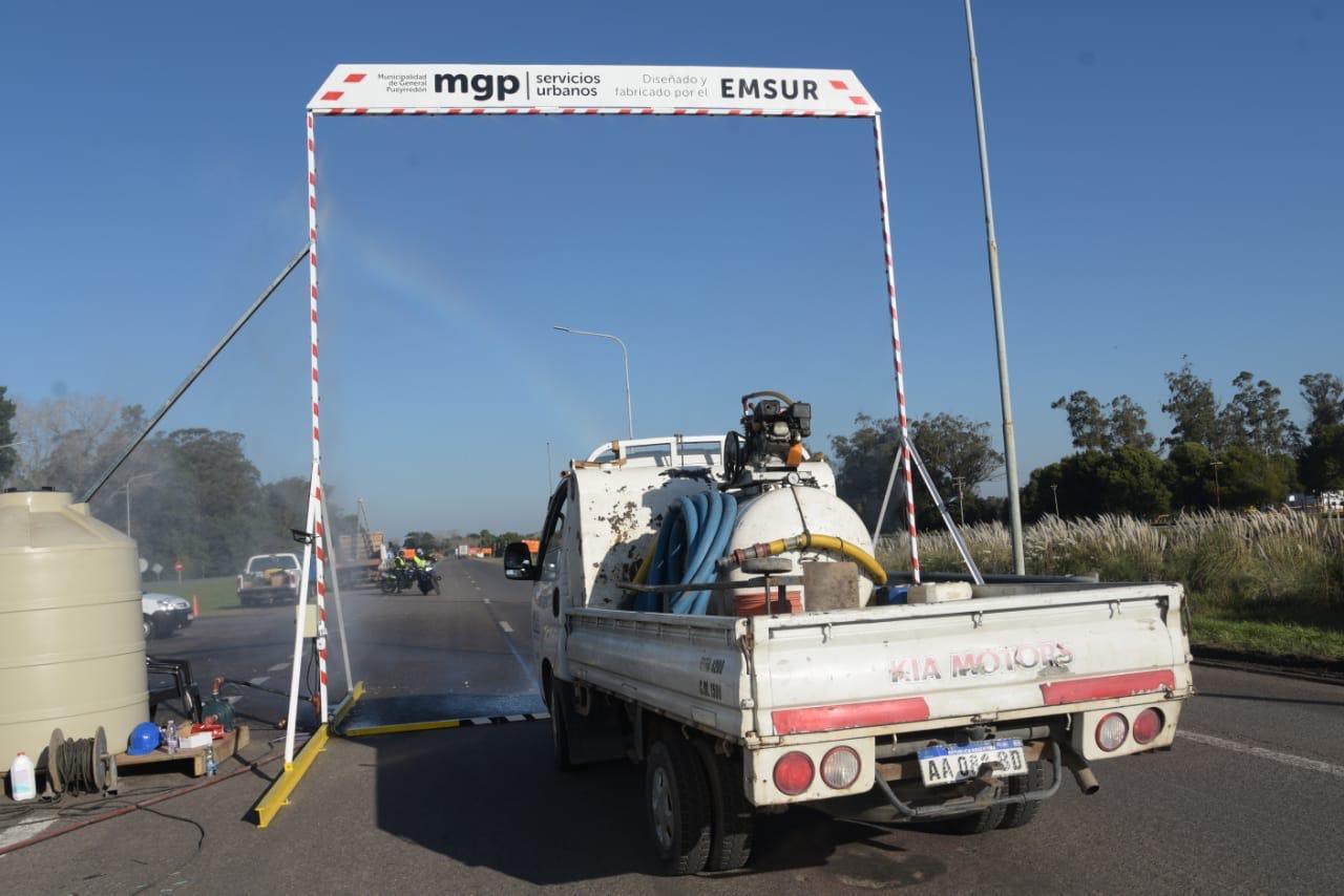Instalan arcos sanitizantes en los accesos a Mar del Plata