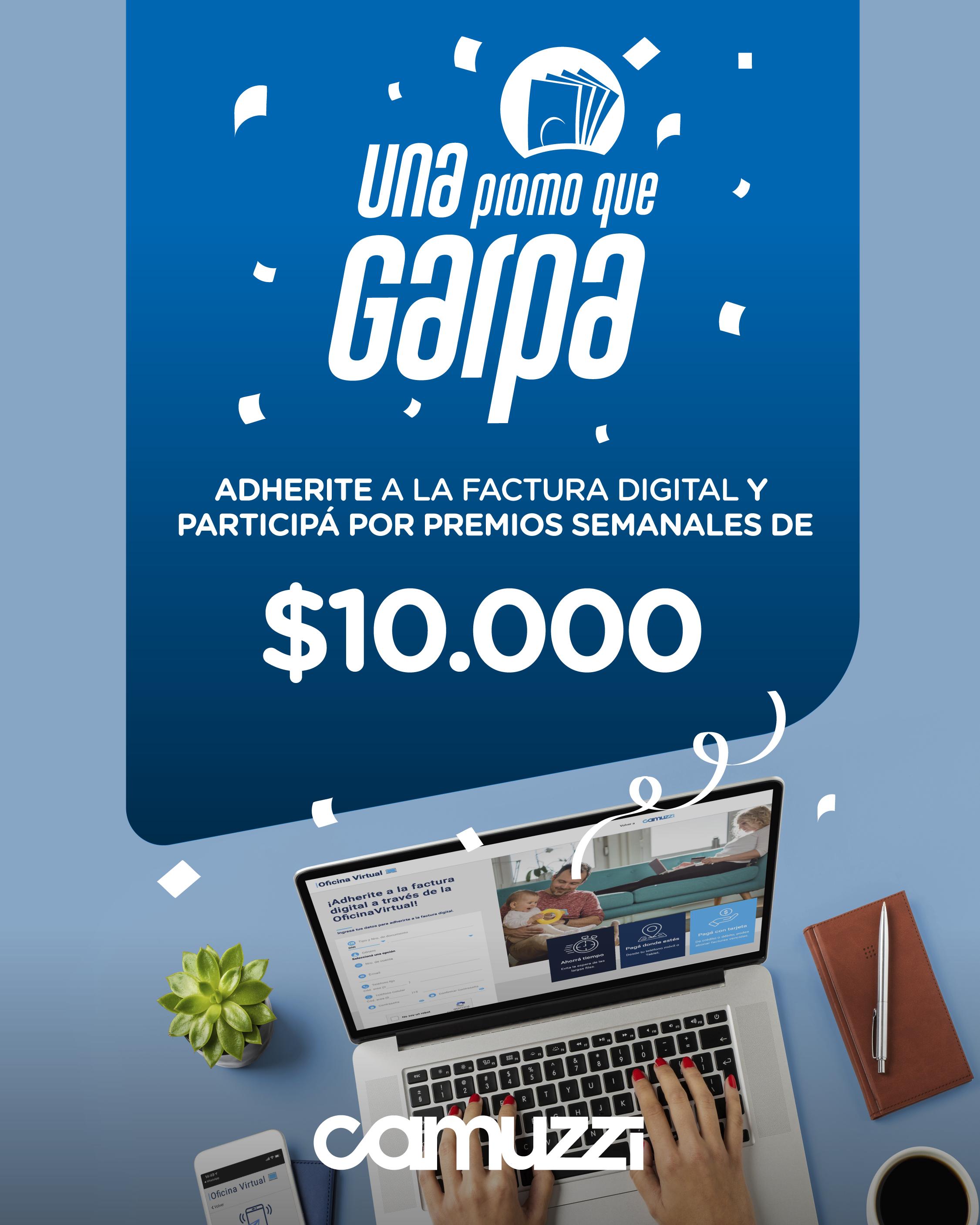 Camuzzi premiará en efectivo a usuarios adheridos a la factura digital