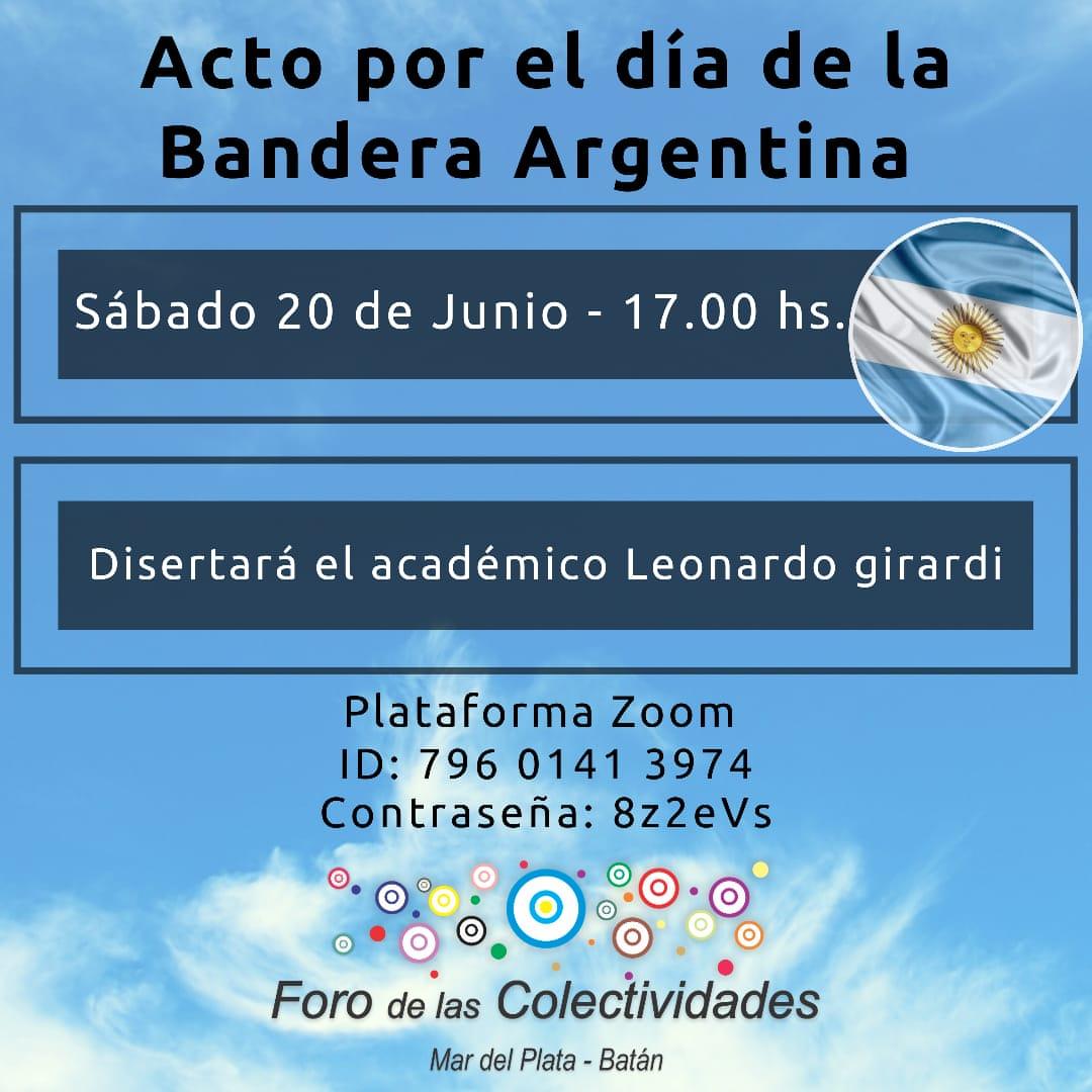 Foro de Colectividades Mar del Plata - Batán hará un homenaje en el Día de la Bandera
