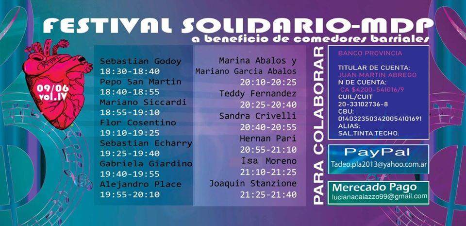 Festival solidario a beneficio de comedores barriales