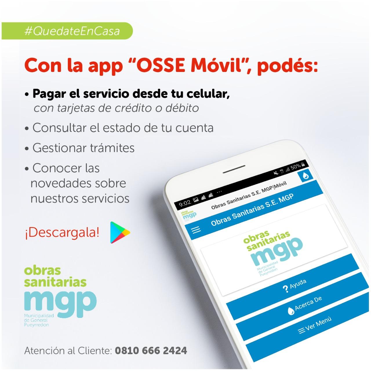 OSSE habilitó el pago de la  factura a través de su aplicación para celulares