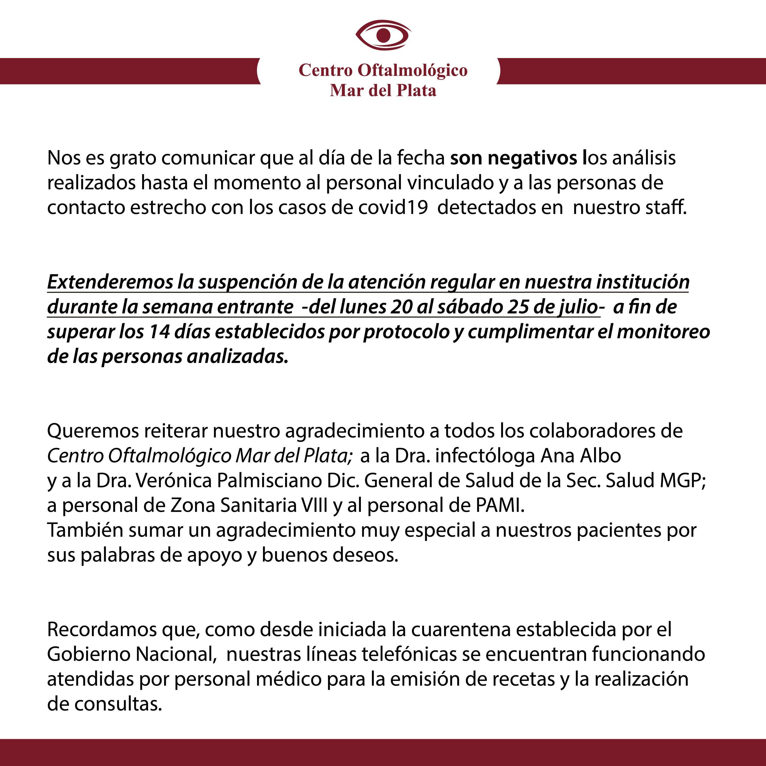 Centro oftalmológico confirma que no se registraron nuevos casos de COVID-19
