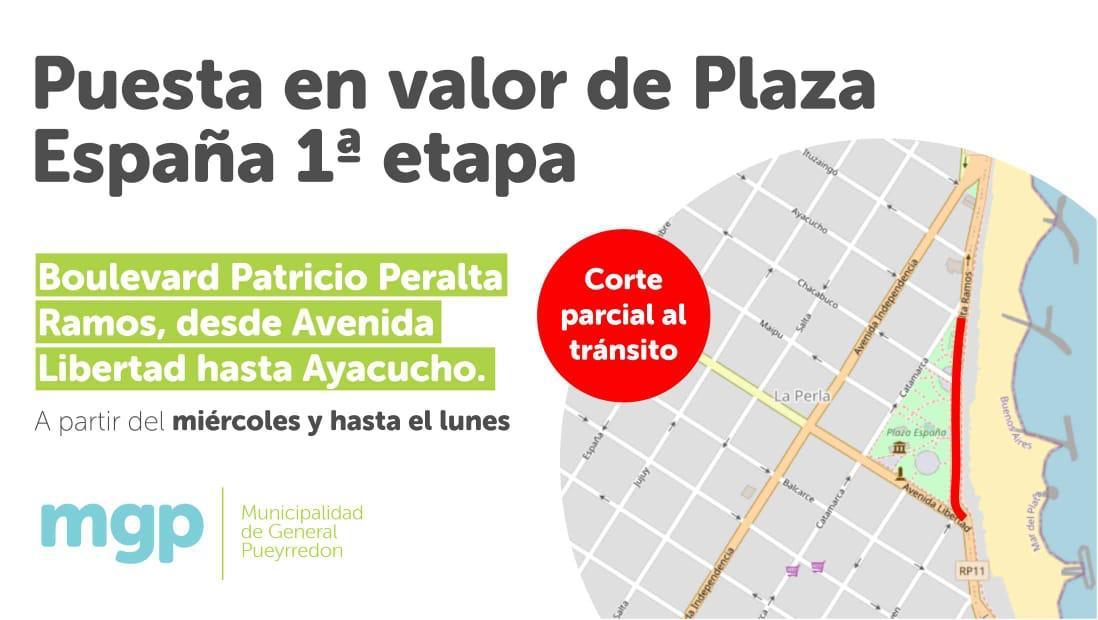 Obras en  Plaza España: Se interrumpirá el tránsito sobre Boulevard Patricio Peralta Ramos