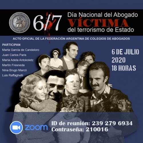 Acto por el Día Nacional del Abogado víctima del terrorismo de Estado