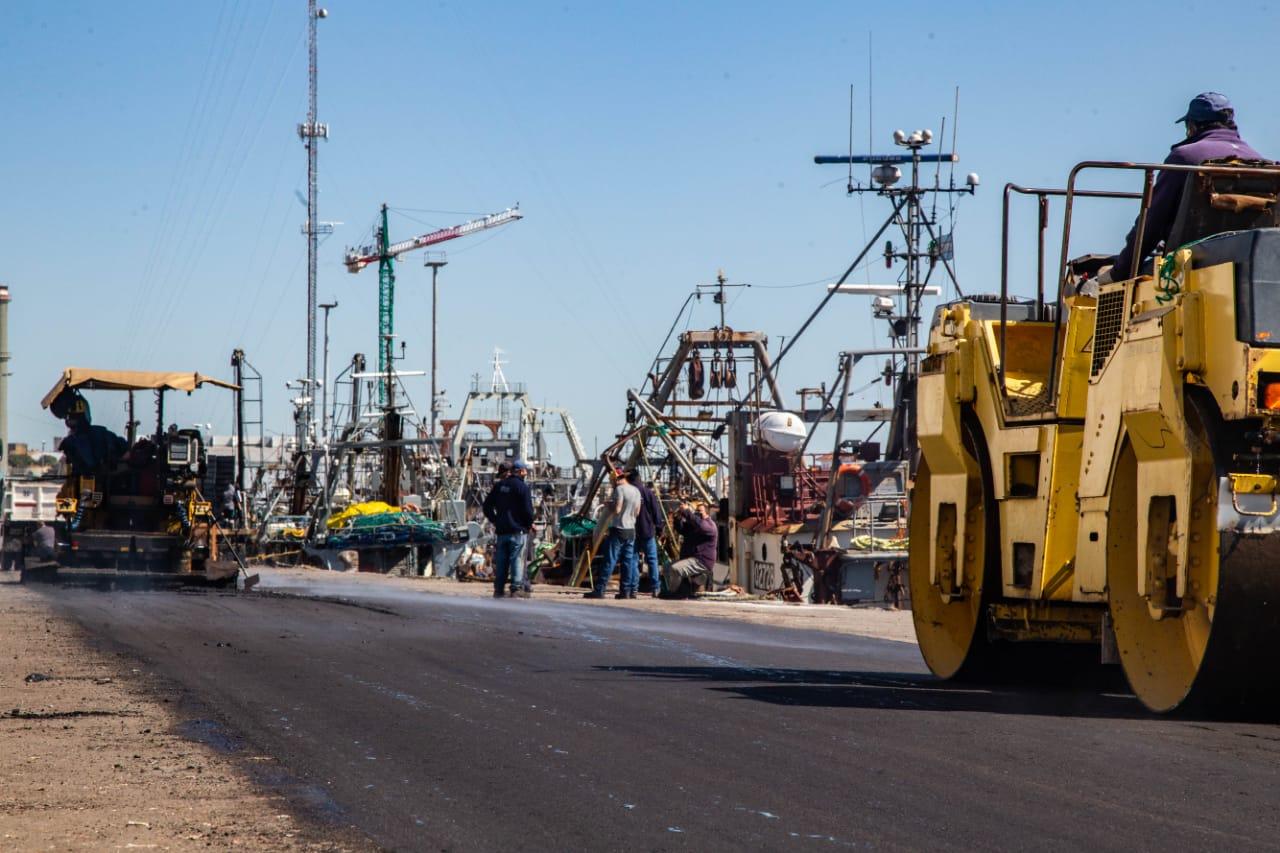 Avanzan las obras de pavimentación en el Espigón 1 del puerto de Mar del Plata
