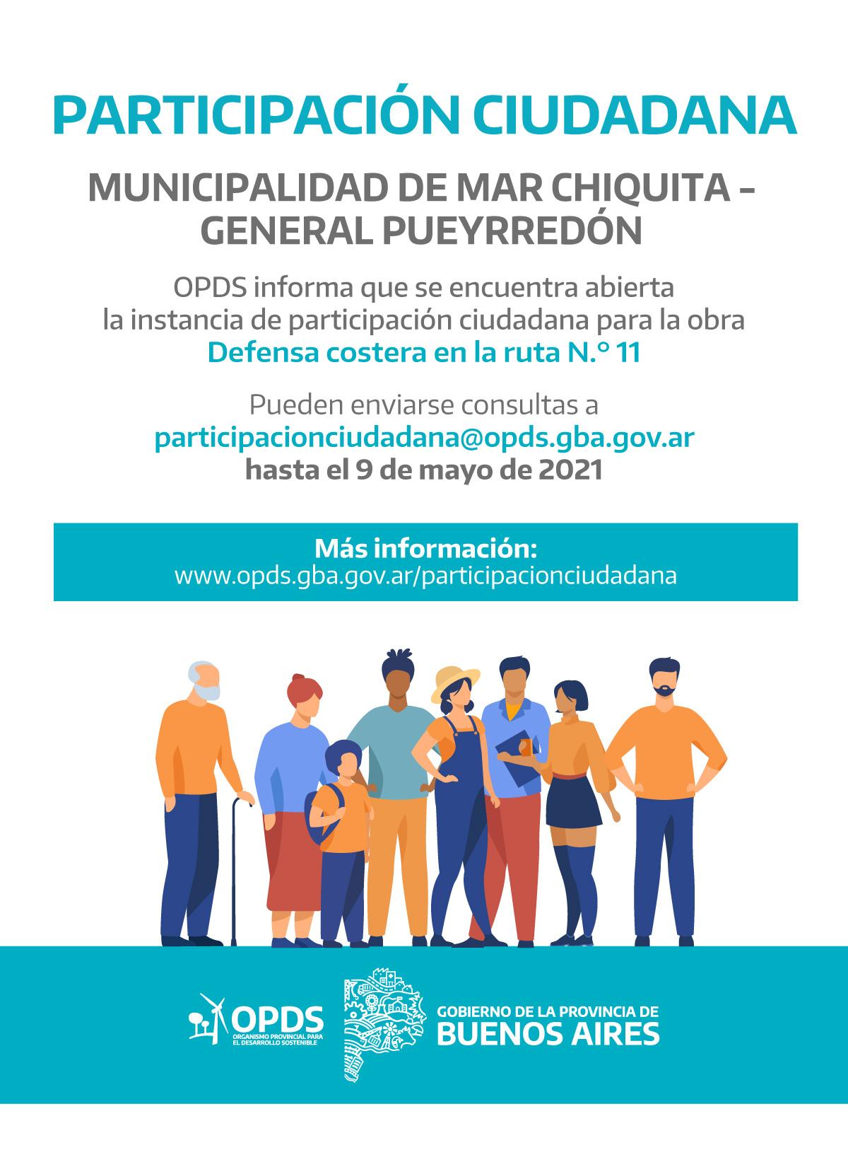 OPDS abre la instancia de participación ciudadana para la obra Defensa costera en la ruta N° 11