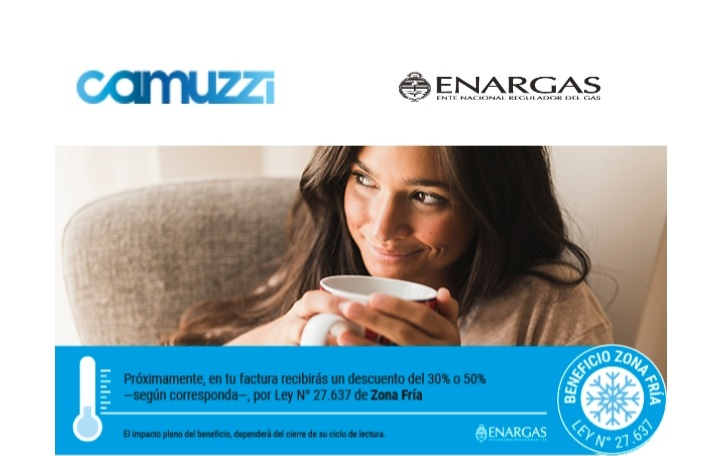 "Zona Fría: Camuzzi anuncia ""descuentos del 30% o 50%"" en próximas facturas"