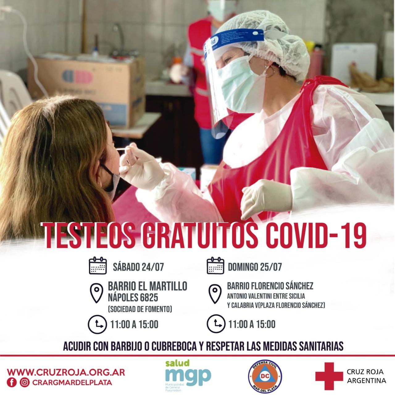 Cruz Roja realizará jornadas gratuitas de testeos en El Martillo y Florencio Sánchez
