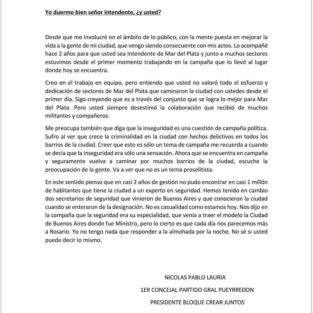 Duras críticas del concejal Lauría a la gestión del intendente Montenegro