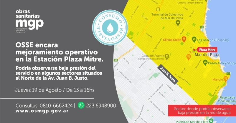 Agua: OSSE encara mejoramiento operativo en la Estación Plaza Mitre
