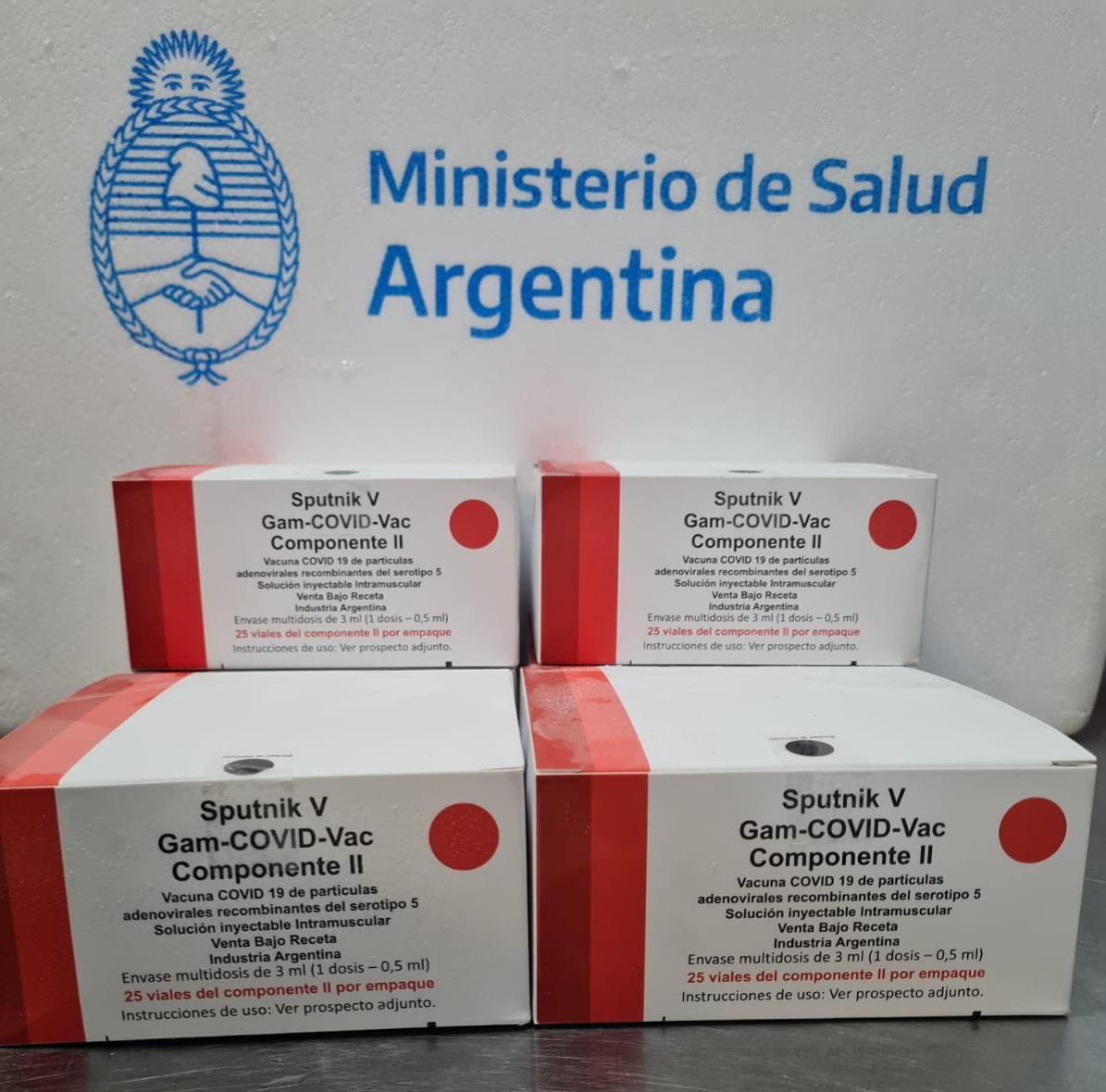 Arribó a Mar del Plata un lote de producción nacional del segundo componente de la vacuna Sputnik V