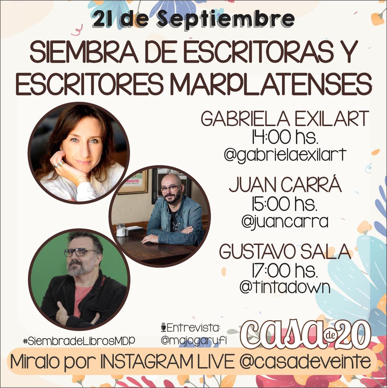 Grabriela Exilart, Juan Carrá y Gustavo Sala: escritores marplatenses que se suman a la Siembra de Libros